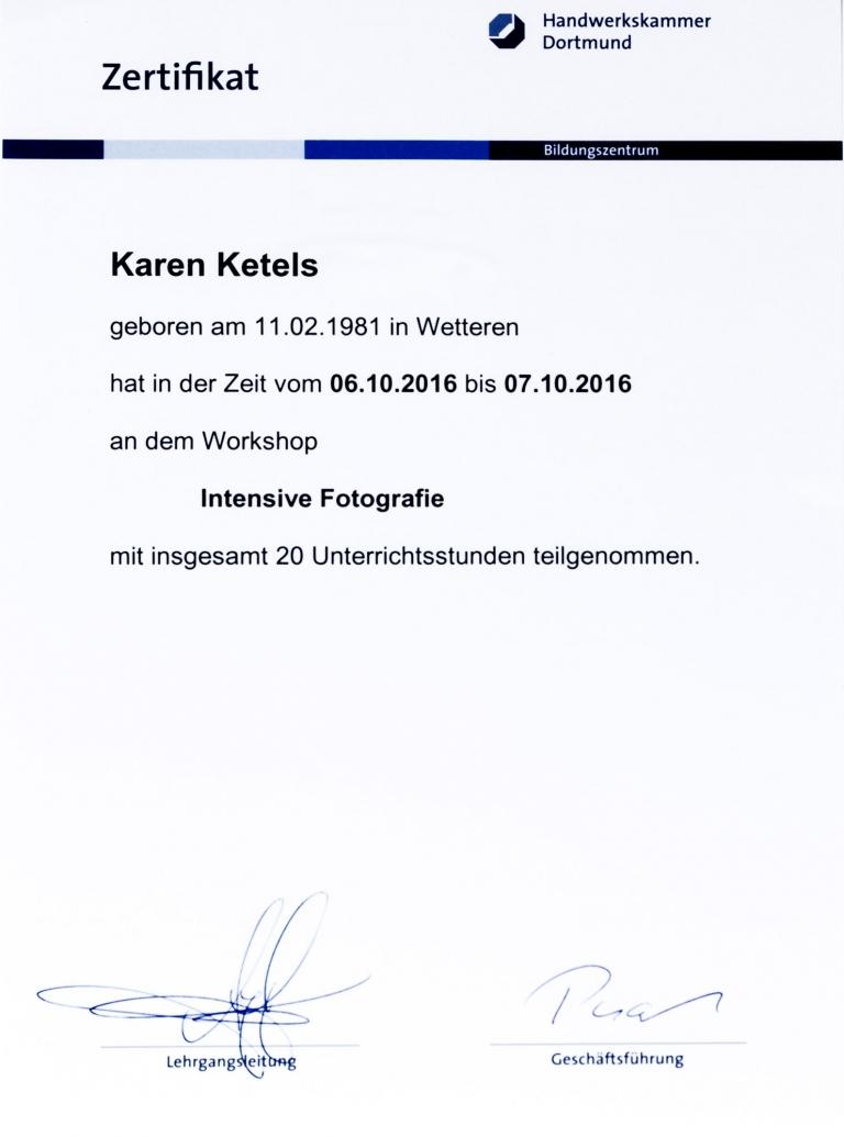 Karen Ketels zertifikat masterclass Andy Hens, Handwerkskammer Dortmund 2016