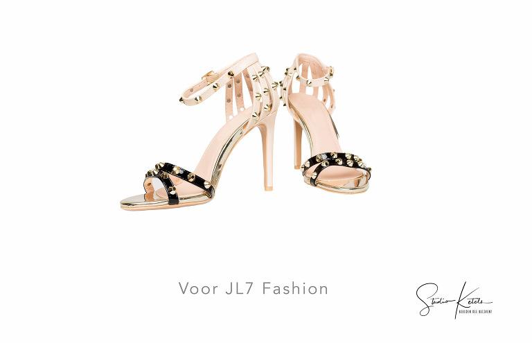 packshot van zomerschoenen dames met pailletten en hoge hak voor webshop JL7 Fashion door Studio Ketels