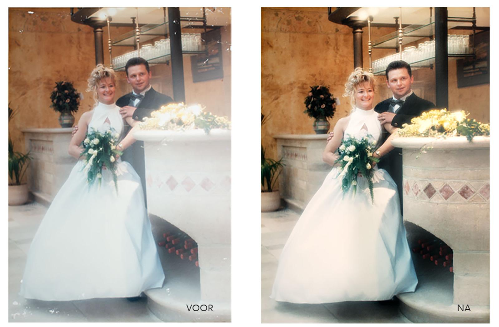 fotohersteldienst voor en na van een oude huwelijksfoto door Studio Ketels